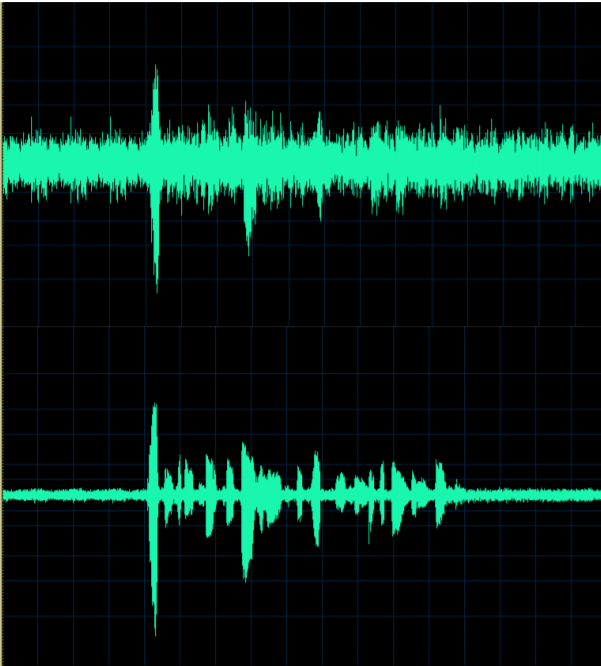 Speech input to Honeywell Voice software with a dirty microphone (top) contrasted with clean microphone (bottom). Note that there are very few peaks and valleys in the top input, making recognition significantly more challenging.